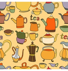 Seamless pattern of tea and coffee objects vector