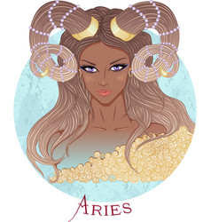 Astrological sign of aries as a african girl vector