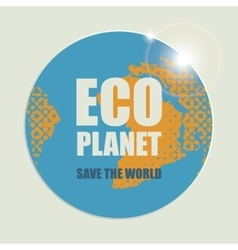 Eco planet with sun rays vector