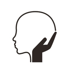 Head profile and hand icon vector