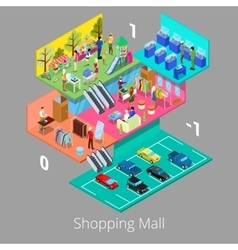 Isometric shopping mall interior with boutique vector