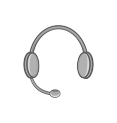Headphones with microphone icon monochrome style vector