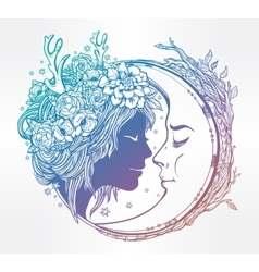 Dreamy elf fairy with a moon vector image