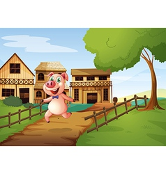 A pig running happily vector