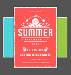 retro summer party design poster or flyer vector image