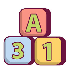 bright colored bricks icon cartoon style vector image