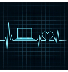 Medical technology concept heartbeat make laptop vector
