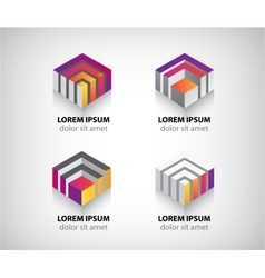 Set of abstract colorful geometric cube 3d icons vector