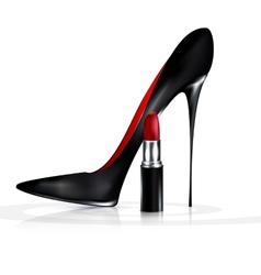 black shoe and lipstick vector image
