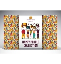 Happy people set big group collection vector