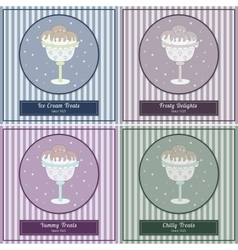 Set of templates with cute hand drawn ice cream vector