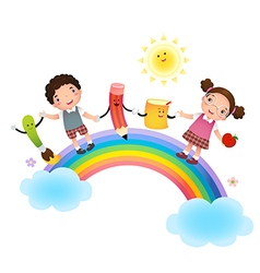 Back to school school kids over rainbow vector