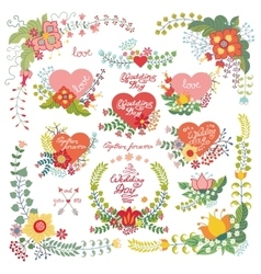 Cute vintage floral set with heartslove decor vector