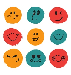 Happy faces cute set of hand drawn funny faces vector