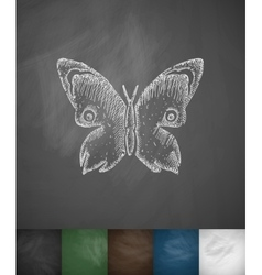 Butterfly icon hand drawn vector
