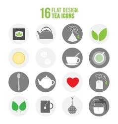 Flat colorful design tea icons set vector