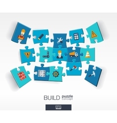 Abstract build background with connected color vector
