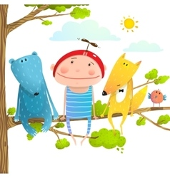 Baby animals and kid childish funny friends vector