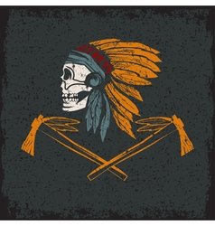 Native american chief skull in tribal headdress vector