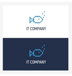 Pixel fish logo design template with square style vector