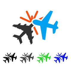 Airplane collision flat icon vector