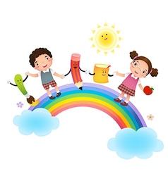 Back to school School kids over rainbow vector image