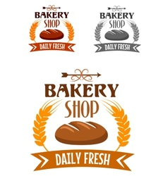 Bakery shop logo with fresh bread vector