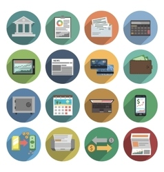 Bank Icons Flat Set vector image vector image