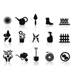 black garden icons set vector image