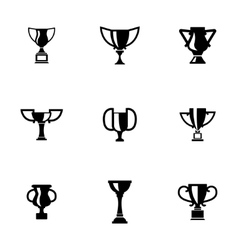 black trophy icons set vector image vector image
