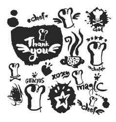 chef calligraphy and doodle set vector image