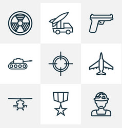 Combat outline icons set collection of officer vector