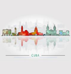 Cuba city silhouette with city silhouette design vector