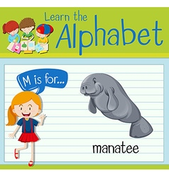 Flashcard letter M is for manatee vector image