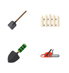 Flat icon garden set of hacksaw trowel wooden vector
