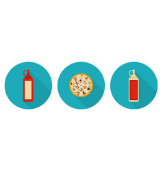 Flat pizza ketchup bottle mayo bottle vector