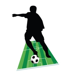 Football player with the ball on the ground vector