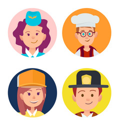 four icons of children in adult occupations flat vector image