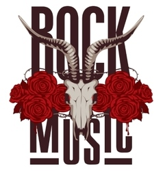 goat skull and roses vector image vector image