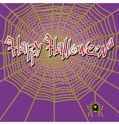 Happy Halloween spiderweb and spider vector image