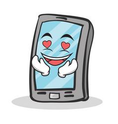 in love smartphone cartoon character vector image vector image