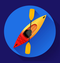 Kayak and paddle icon outdoor activities vector