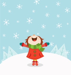 Kid enjoying snow vector