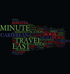 Last minute caribbean travel deals text vector