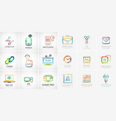 linear web icons vector image vector image