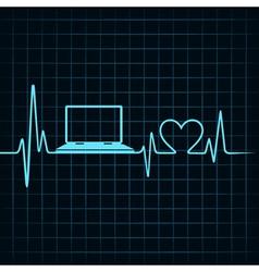 Medical technology concept heartbeat make laptop vector image