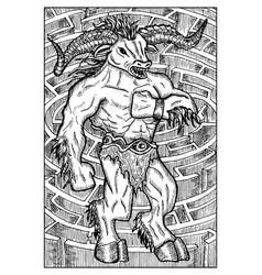 Minotaur monster and labyrinth engraved fantasy vector
