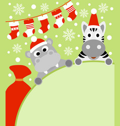 new year background with hippopotamus and zebra vector image vector image