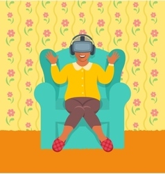 Old african woman wearing virtual reality glasses vector