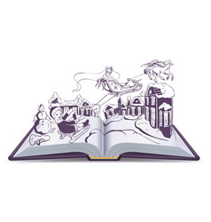 Open book fairy tale snow queen vector